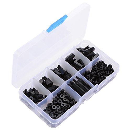 XCSOURCE 180 pezzi M3 Nylon Hex distanziali madrevite stand-off in plastica Accessori Assortimento con scatola di plastica nera BI405