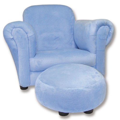 Trend Lab Velour Club Chair and Ottoman Set, Blue