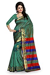Fabcart Rama Green Color Art Silk Saree with Blouse Piece