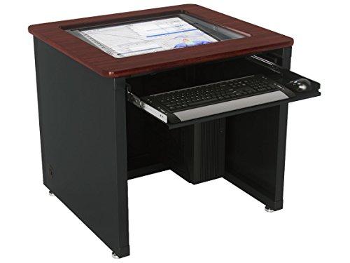 Downview Computer Desk - Black Frame, Maple Surface, 60