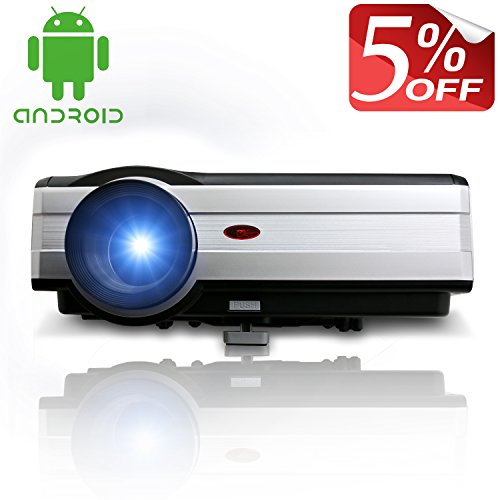 EUG 1080p Wireless Video Projector 3000 Lumens 1024x768 Hd Home Theater Multimedia Digital LCD Projector Hdmi USB VGA Tv Built-in Android System with Wifi