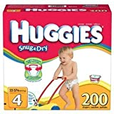Huggies Snug & Dry Diapers Size 4 (22-37 Lbs) 200 Ct