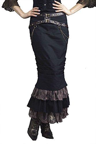 steampunk-victorian-leatherette-belt-chain-tiered-hem-pencil-skirt-BK