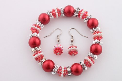 Ladies Red Pearl Beads with Mini Pearl Beads Stretch Bracelet & Matching Earrings Jewelry Set