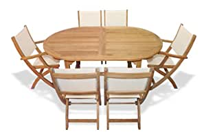 Teak Outdoor Dining Set For 6 Oval Table With Teak And Sling Fol