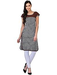 Drapes Women's Kurtis Brown With Checks Printed 3/4 Sleev In Cotton Fabric