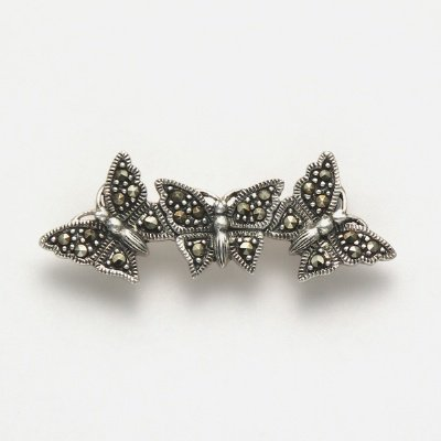 Marcasite Three Butterfly Pin