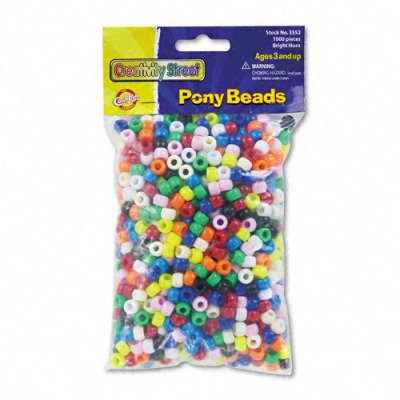 Pony Beads - Assorted Bright Colors, 1, 000 Beads per Pack(sold in packs of 3)
