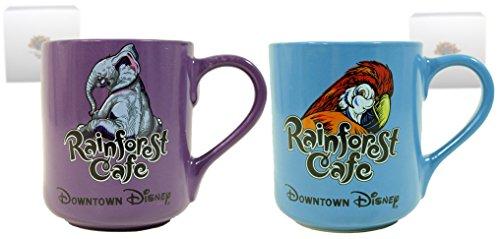 "Downtown Disney Rainforest Cafe Blue ""Parrot"" And Purple ""Elephant"" Ceramic Mug Set Of 2"