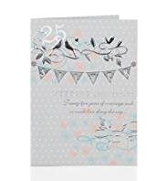 25 Bunting Silver Wedding Anniversary Card