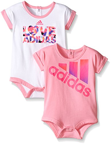 Adidas Baby Girls' Single and 2 Pack Bodysuits, Assorted, 6 Months