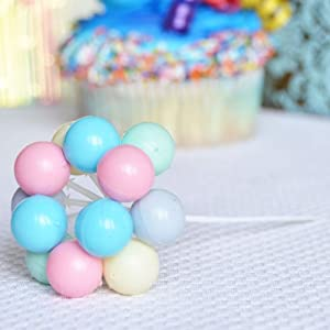 7 Inch Balloon Cluster Pick - Pastel Colors (8 Clusters Per Pkg)