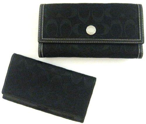 Coach Hamptons Signature Checkbook Wallet in Black / Black / Silver