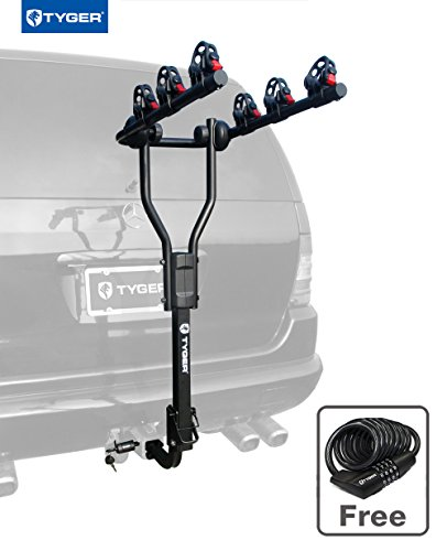TYGER TG-RK3B101S 3-Bike Hitch Mount Bicycle Carrier Rack | Free Hitch Lock & Cable Lock | Fits both 1.25