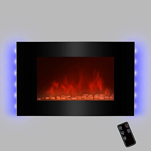 "Golden Vantage GV-510EPB 35"" Wall Mounted Electric Fireplace Heater with Remote Control and Backlight"