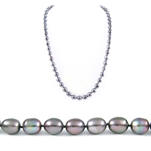AugustinaJewelry Single Strand 22 Inch 8-9mm Black Oval Shape Freshwater Cultured Pearl Necklace