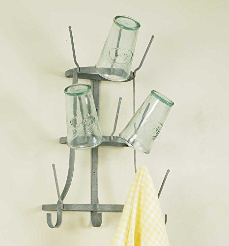 Vintage Industrial Style Wall Mount 10 Arm Wine Bottle Coffee Cup Mug Glass Tree Holder Rack