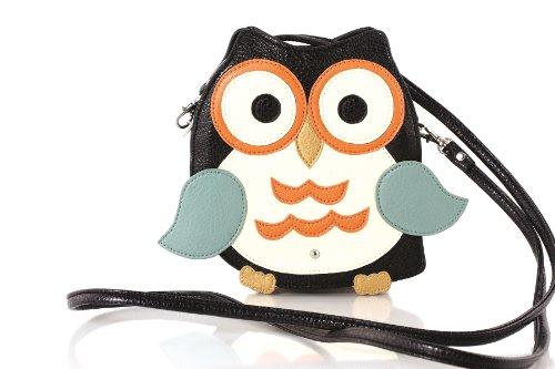 Sleepyville Critters Owl Mini Crossbody Bag (Black)