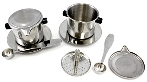 2-Pack Vietnamese Coffee Maker, Stainless Steel 8-Ounce Coffee Press with Lids & Spoons Included; Ideal for Hot or Iced Coffee (Coffee Filter Set Vietnamese compare prices)