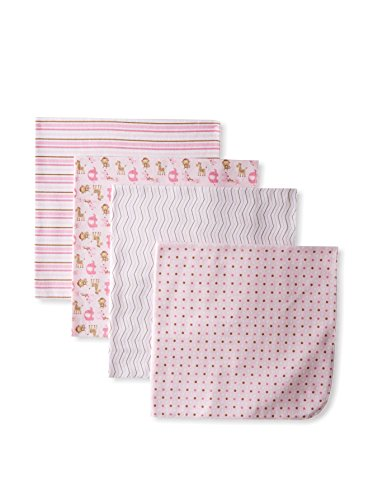 "Nuby ""Jungle Medley"" 4-Pack Receiving Blankets - pink, one size"