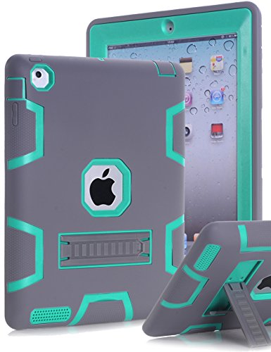 iPad 2 Case,iPad 3 Case,iPad 4 Case,TOPSKY(TM)[Kickstand Feature],Shock-Absorption / High Impact Resistant Hybrid Three Layer Armor Defender Full Body Protective Case Cover with Stylus and Screen Protector,Grey/Green