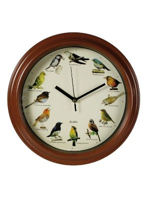 Bird Sounds Wall Clock - 12 Singing Birds With Bird Sounds