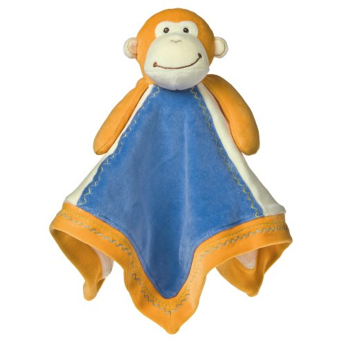 Mary Meyer Earthmates 100-Percent Organic, Monkey Baby Blanket, Orange, 16-Inches x 16-Inches