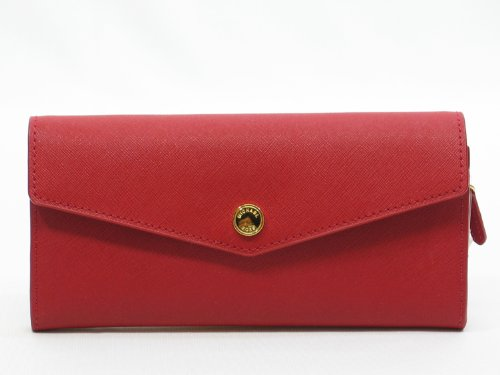 New Authentic Michael Kors Large Slim Flap Saffiano Leather Wallet (Red/White/Brass)