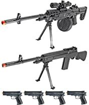 Airsoft Combo Kit M14 Machine Gun Spring Sniper Rifle With Bipod & M14 Spring Rifle With Bipod + 4 FREE PISTOLS