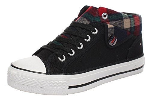 Wuyiwan Womens Casual Fashionable Lace-up Plaid Plats Canvas Shoes(7.5 B(M) US, Black)