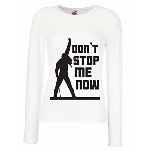 N4382M Maniche lunghe femminili T-shirt Don't stop me now! (Small Bianco Multicolore)
