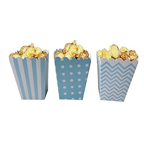 Popcorn Boxes, NUIBY Blue Trio (36 Pack) Polka Dot, Chevron, Stripe treat boxes- Small Movie Theater Popcorn Paper bags for Dessert Tables & Wedding Favors (Popcorn Cardboard compare prices)