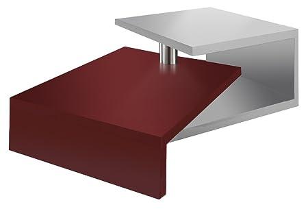 Regalwelt 2005-KF-WSM-MAG Turny-Tavolino da caffè, 84 x 60 x 35 cm, colore: bianco Rubinrot Glanz