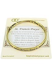 St. Francis Prayer Engraved Twist Bangle Inspirational Bracelet with Prayer Card by Jewelry Nexus