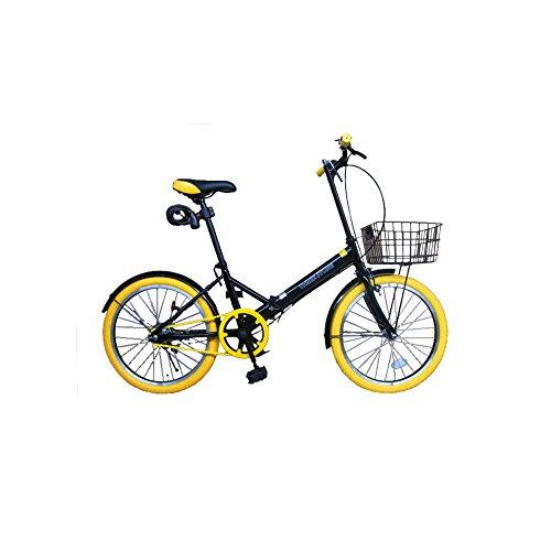 20インチ 折りたたみ自転車 カラータイヤ【カラー:イエロー】 カゴ付き 20インチ [TH20-KR] 便利なカゴ付き 簡単折り畳み