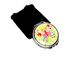 Green Butterfly Compact Mirror With Microfiber Bag