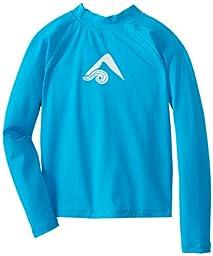 Kanu Surf Big Boys\' Platinum Long Sleeve Rashguards, Neon Blue, Small (8)