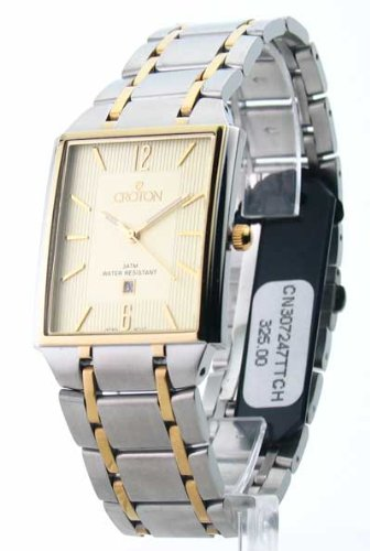 Croton Steel Ultra Thin Two Tone Date Watch (CN307247TTCH)