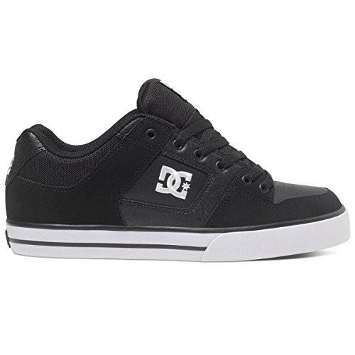 dc-shoes-mens-pure-black-white-leather-trainers-42-eu