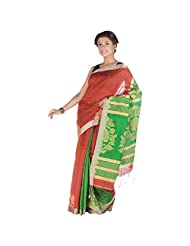 ELife Green & Maroon Cotton Saree For Women
