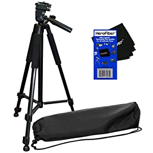 "60"" Pro Series Lightweight Photo/Video Tripod & Carrying Case for Canon, Nikon, Sony, Olympus, Pentax, Samsung, Panasonic, Kodak, Fujifilm Digital Cameras & Camcorders w/ HeroFiber® Ultra Gentle Cleaning Cloth"