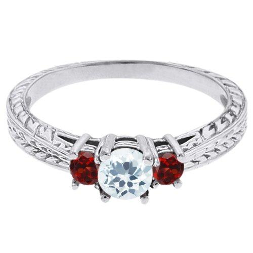 0.57 Ct Round Sky Blue Topaz Red Garnet 18K White Gold 3-Stone Ring