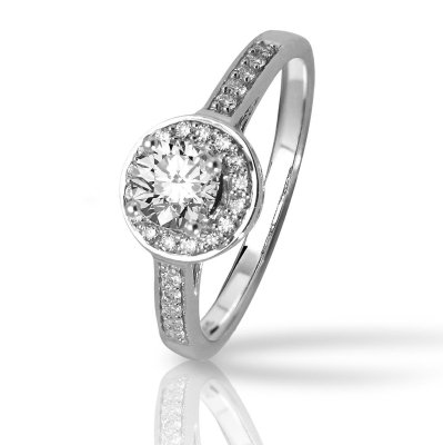 Halo Style Pave-set Round Diamonds Engagement Ring with a 1.25, G, , SI2, EGLUSA, Certified