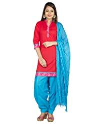 Jaipur Kurti Pure Cotton Red And Blue Set Of Patiala Salwar Kurta Dupatta