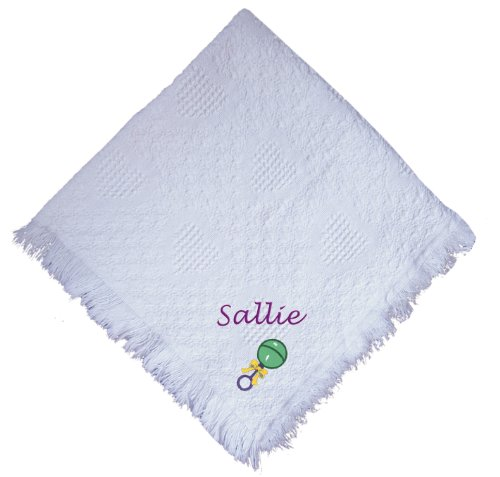 Baby Rattle White 100% Cotton Custom Embroidered Personalized Baby Blanket Green Thread front-1045142