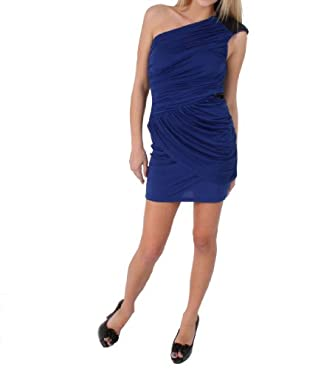 Trixxi Venezia Dress with Sequined Shoulder Cap in Cobalt