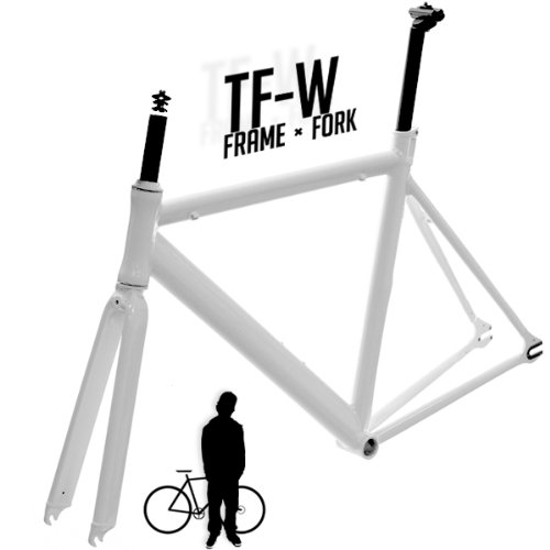 Track Fixie Road Bike Frame with Fork White 53cm