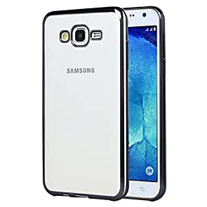 DressMyPhone Luxury Clear Transparent Plated Soft Flexible TPU Back Case Cover For Samsung Galaxy J5 - Black