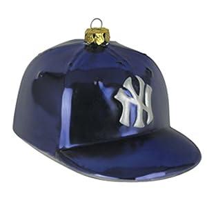 New York Yankees Team Glass Baseball Hat Ornament