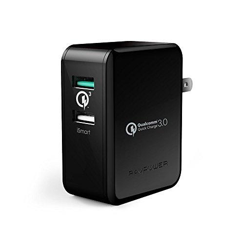 USB充電器 RAVPower 30W 2ポート QC3.0 充電器 Quick Charge 3.0iSmart出力自動判別 急速充電 Galaxy S7 / S6 / Edge / Edge Plus / Nexus 6 / iPhone / iPad スマホ タブレット モバイルバッテリー 等対応(ブラック)
